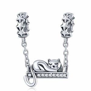 Reiko Chat Paresseux 925 Sterling Argent Charms Bricolage Dangle Pendentif Perles pour Bracelets ou Colliers, Cadeau de Noël Halloween pour Femme Fille, Coffrets Cadeaux, sans Nickel
