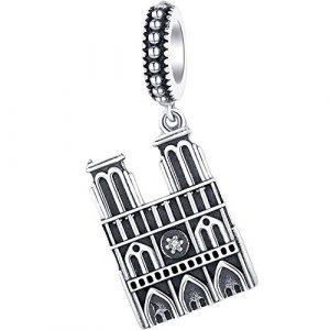 Reiko Notre Dame de Paris Charms en 925 Argents,Breloques Européens et Pendant Convient à Bracelets Pandora&Chamilia