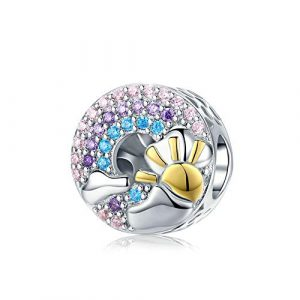 Reiko Soleil d'or Arc en Ciel Charms en 925 Argents,Breloques Européens et Pendant Convient à Bracelets Pandora&Chamilia