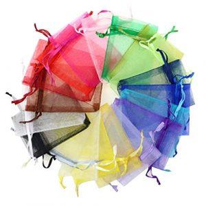 Renquen Lot de 100 sacs cadeaux en organza avec cordon de serrage pour mariage, bonbons, cadeaux de fête, sacs à bijoux (10 x 15 cm)