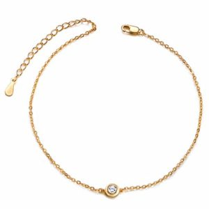 SHEGRACE Bracelet de Cheville Femme en Acier Titane, Chaine Fine Simple élégante Orne de Zircon Scintillant, Or, 200mm(réglable)