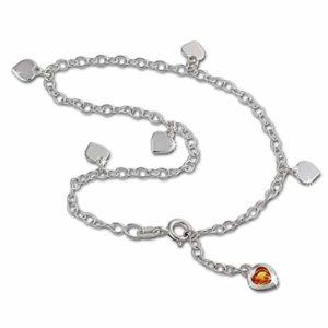 SilberDream bijoux collection – chaîne de pied coeur de la couleur ambre – longeur env. 25cm – Bracelet de cheville SDF2015Y