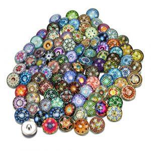 Soleebee mixte aléatoire 18mm alliage strass boutons pression Bijoux Charms Accessoires bricolage100pcs
