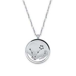 soulcats® Collier signe astrologique 50 cm en acier inoxydable Argent avec emballage cadeau. Horoscope Astrologie Constellation Zodiac: Poissons