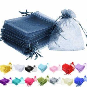 Time to Sparkle TTS 50 Pièces (Bleu Foncé) Sachets Pochettes Sac Organza Cadeau Luxueux Poche Bijoux Mariage – 13x18cm