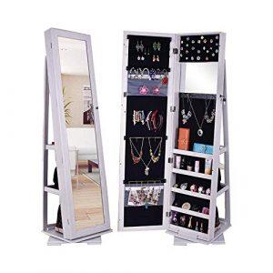 TONGSH Bijoux Bijoux Organisateur Cabinet 360 Rotating, verrouillables Permanent Mur Bijoux Armoire avec Grand Miroir Cadrage Armoire à Bijoux Cabinet (Color : White)