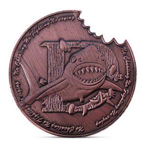 ZijianZZJ Pièce commémorative rare en forme de requin – Or rose – 3,8 cm