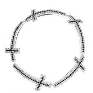 Zonfer Strass Spacer Croix Perles Accessoires Bijoux DIY 5cm 5 pièces d'argent