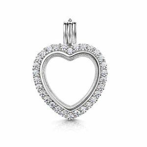 Amberta Médaillon en Argent Sterling 925 – Pendentif en Forme de Coeur avec Zircone pour Femme – pour Photos et Pierres Précieuses