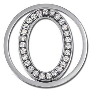 Amello ovale en argent Coins 30 mm Ladies déposants zircone Coin en acier inoxydable ESC535JW