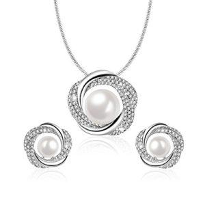 Angelady Collier Perles Femme et Boucles d'oreilles Perles Femme Ensembles de Bijoux en Perles pour Femme Cadeaux d'anniversaire Cadeau Fête Mères pour Maman