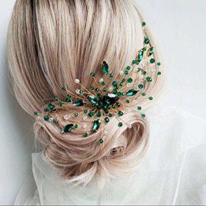 Anglacesmade Peigne à cheveux en cristal vert émeraude vigne malachite verte, accessoire de cheveux pour femme et fille