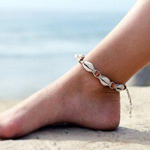 Aukmla Bracelets de cheville Pied 2pcs Style vintage Beach Pied Chaîne
