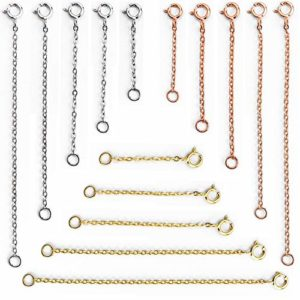 Aweisile 15 pièces rallonge collier Chaîne Extension Chaîne Rallonge de Collier Extender Collier Chaîne d'Extension Rallonge de Chaîne en Acier Inoxydable, 5 tailles, Or, Argent, Or rose