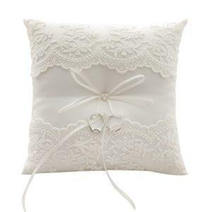 Awtlife – Coussin porte-alliance en dentelle avec des perles couleur ivoire pour mariage de 21cm