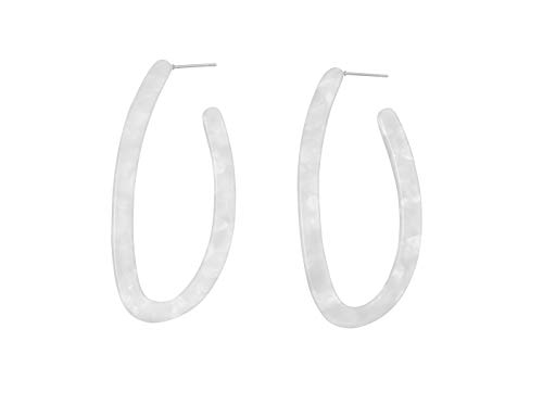 Boucles d'oreilles créoles Feliss pour femme – Grandes tailles sans pendentif – Cadeau d'anniversaire pour femmes – Créoles en plastique ovale – Longues boucles d'oreilles pendantes