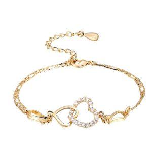 Chaîne de cheville, femmes Lady cheville pieds nus décoration en forme de coeur cuivre plaqué Bracelet