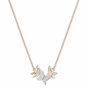 Collier Swarovski Lilia, cristal blanc, petit, métal doré rose, pour femme