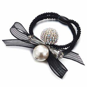COOLSTEELANDBEYOND Strass Balle Perle Noir Dentelle Nœud Papillon Bagues Anneau Cheveux Attaches Cravate Cheveux Titulaires de Queue Cheval