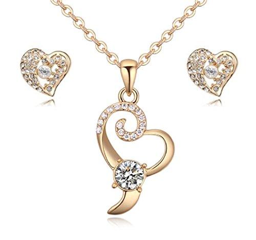 Ensemble en coeur collier et boucles d'oreille 18 carats plaqué or jaune avec cristaux blancs de Swarovski