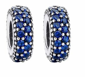Featherwish pavé d'argent sterling 925Bleu Inspiration Spacer Charm avec Oxyde de Zirconium Bleu Bracelet Pandora – 1