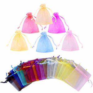 Gudotra 100pcs Sac à Bonbon 20 Couleur Organza Sachet Faveur Titulaire pour Anniversaire Mariage Cadeau Bonbons Partie Bijoux (7 cm * 9 cm) (100pcs-multicolore)