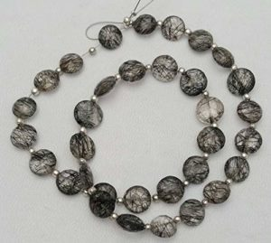 Jewel Beads Natural Beautiful jewellery Natural BLACK RUTILATED QUARTZ both side faceted beads,faceted coin shaped beads,7 mm – 8 mm,13″ strand Approx[E1242]drilled coin beadsCode:- JJBB-8017