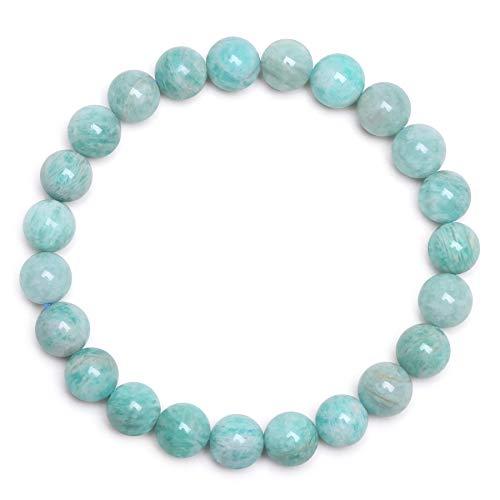 J.Fée Bracelet de Perles Bracelet Amazonite Bracelet Naturel Bracelet Bracelet Vert élastique Bracelet Extensible Bracelet 8mm Semi Précieux Bracelet de Guérison Bracelet Femme Cadeau d'anniversaire