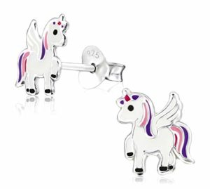 Laimons enfants Argent sterling 925Licorne Boucles d'oreille à tige pour filles, DE BIJOUX pour enfants, couleur: blanc/rose/violet