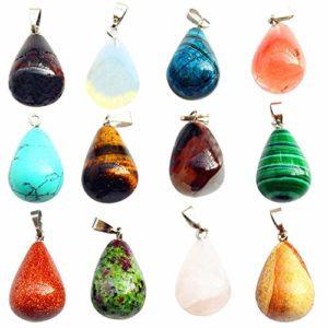 Lot de 20 breloques en pierre précieuse avec pendentifs en forme de goutte d'eau pour collier, bijoux, boucles d'oreilles, bracelet, cadeau d'anniversaire pour femme ou fille
