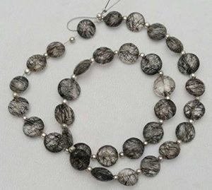LOVEKUSH 50% Off Gemstone Jewellery Natural BLACK RUTILATED QUARTZ both side faceted beads,faceted coin shaped beads,7 mm – 8 mm,13″ strand Approx[E1242]drilled coin beads Code:- RADE-33321