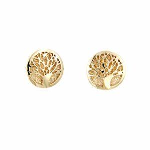 Lucchetta Bijoux – Boucles d'oreilles Femme Arbre de Vie en Or Jaune (possibilité d'acheter le collier assorti pour fait la parure)