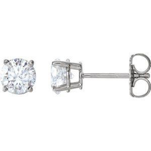 Magnifiques boucles d'oreilles à tige avec fermoirs en diamant 1 carat.