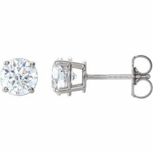 Magnifiques boucles d'oreilles à tige avec fermoirs en diamant de 1 1/2 carat.