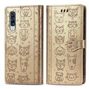 Miagon PU Cuir Portefeuille Coque pour Xiaomi Mi 10,Chat Chien Animal Gaufrage Flip Cover Étui à Rabat Magnétique Case Style Livre Protection Housse avec Support,Or