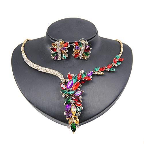 NUYI Collier Femme Boucle d'oreille Cristal Fleurs Colorées Pendentif Strass Ensemble De Bijoux en Alliage De Mode (Boucle d'oreille + Collier),d'or