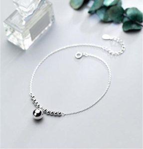 onedayday Bijoux en Argent Sterling 925 Plus Gros et Petits Chanceux Perles Rondes Charms Bracelet de Cheville