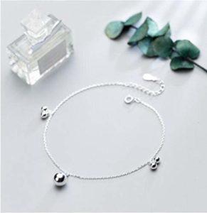 onedayday Bijoux en Argent Sterling 925 Plus Petites et Plus Grosses Perles Bracelet de Cheville Rond