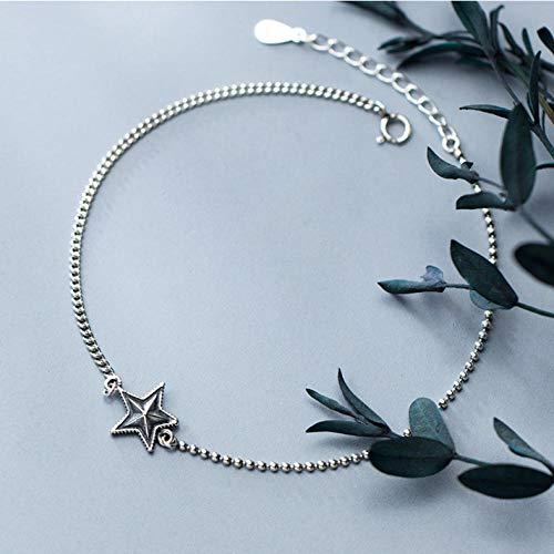 onedayday Bracelet de Cheville en Argent Sterling 925 avec breloque en étoile
