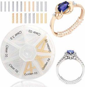 OntaRyon Régleurs de taille de bague – Réducteurs de bijoux – Pince Resizer Invisible Guard – Ajusteur Paquet de 21, 7 Styles – Idéal pour l'or, l'or blanc, l'argent