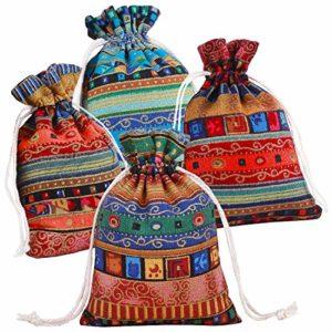 PINOWU Coton de Style Ethnique Cordon Sac Cadeau (12pcs) – Bijoux Sacs de sachets écologiques biodégradables Sachet Sacs pour La Fête De Mariage Décoration et Artisanat de Bricolage (13x18cm)