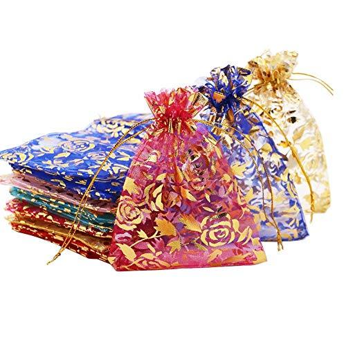 Pochettes Cadeau,100 Pack Multicolore Organza Sachets Pochettes Sacs De Poche Cadeau pour Fêtes Mariage Célébrations(9x12CM, Couleur Mélangée)