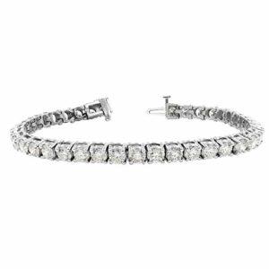 Rachel Koen Bracelet de Tennis Rond avec Diamants 9,75 cts Or Blanc 14 carats