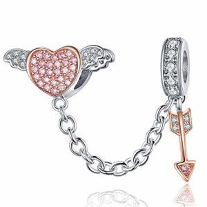 Reiko Flèche De Cupidon Coeur Aile 925 Argent Bead Charms Bricolage Peut Être Combiné avec des Bracelets Et des Colliers