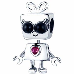 Reiko Robot Bead Charm en Argent 925 Breloques Pendentif pour Bracelets ou Colliers