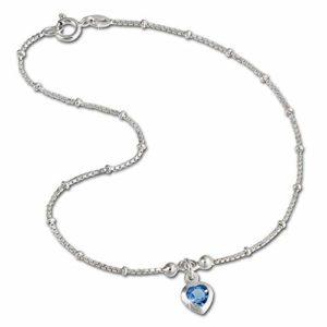 SilberDream bijoux collection – chaîne de pied coeur de la couleur bleu clair – longeur env. 23cm – Bracelet de cheville SDF2023H