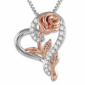 SNZM Amour Coeur Pendentif Collier Rose Fleur Bijoux pour Femmes, pour Mariage, Anniversaire, Collier fête des mères
