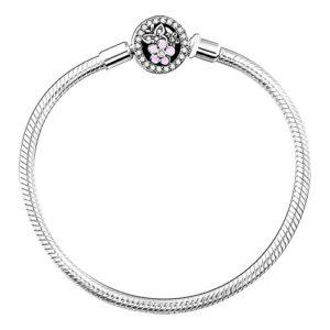 Soufeel Bracelet Femme Fleur Espaceur Pur Argent 925 Chaîne Charms Clips Serpent Compatible Européen Style 16-23CM Cadeau de Noël