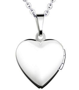 Yumilok Jewelry Collier Pendentif de Photo en Acier Inoxydable au Titane Le cœur Peut Ouvrir pour Femme Fille Bleu