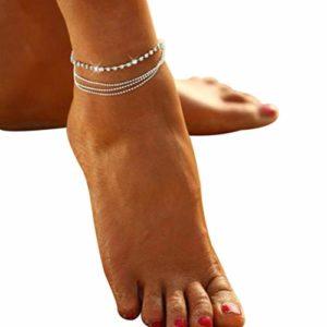 Zeagro 1 bracelet de cheville pour femme avec boule de cristal et chaîne de cheville